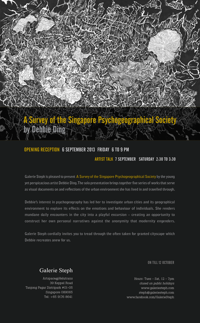"""Setting up """"A Survey of the Singapore Psychogeographical Society"""" at Galerie Steph"""